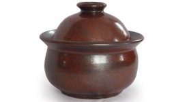 photo of small brown lidded jar